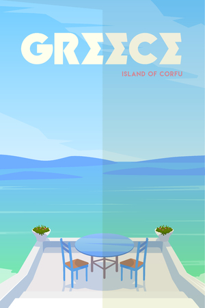 Vector retro poster Greece, Island of Corfu illustration.