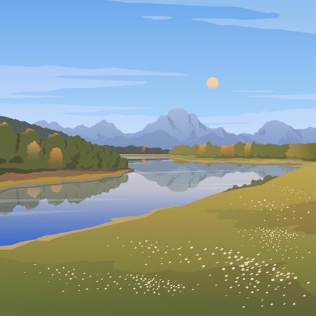 生存野生、狩猟、キャンプ、旅行、アメリカの野生の自然のテーマのベクトル イラスト。山の風景。放浪癖。