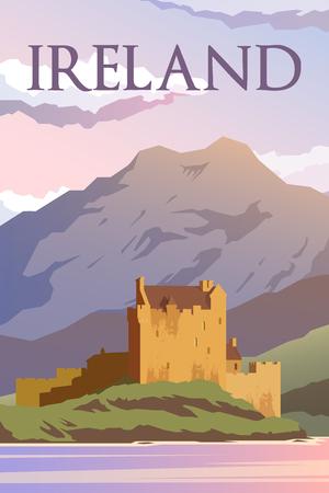 Vector retro poster. Een kasteel in Ierland. Reisposter. Plat ontwerp.