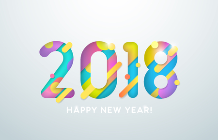 Vector illustration. 2018 Happy New Year. Text on the grey background. Abstract design.