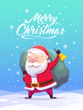 Cartoon Santa Claus. Vector illustration. Merry Christmas and Happy New Year.