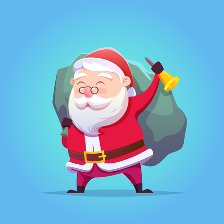 Cartoon Santa Claus. Vector illustration. Merry Christmas and Happy New Year. Postcard.
