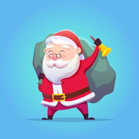 Cartoon-Weihnachtsmann. Vektor-Illustration. Frohe Weihnachten und ein glückliches Neues Jahr. Postkarte. Vektorgrafik