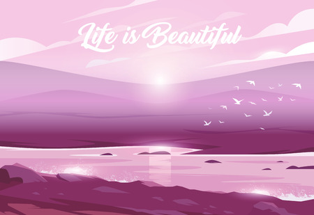 Pink sunset above a valley and river. Unbelievable landscape. Vector illustration. Exciting view. Life is Beautiful.