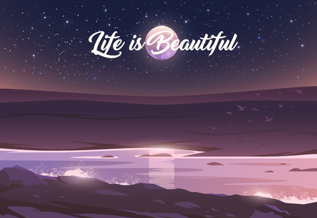 The Moon above a valley and river. Unbelievable landscape. Vector illustration. Exciting view. Life is Beautiful. Imagens - 112417428