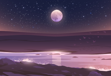The Moon above a valley and river. Unbelievable landscape. Vector illustration. Exciting view. Life is Beautiful. Çizim