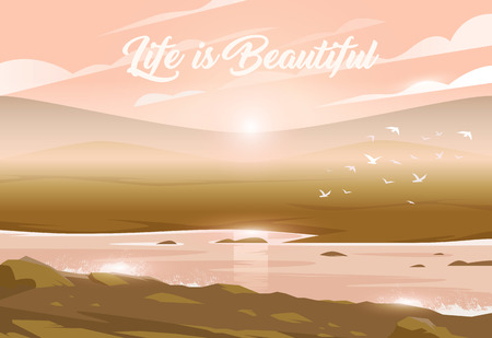 Sunset above a valley and river. Unbelievable landscape. Vector illustration. Exciting view. Life is Beautiful. Ilustração