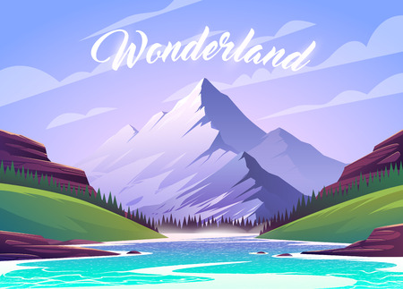 Unbelievable mountain landscape. Vector illustration. Exciting view. A great mountain is surrounded river.