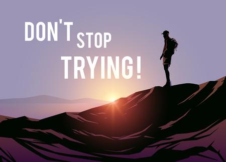 Dont stop trying! Vector illustraishion. Wanderlust.