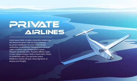 Illustration on the theme of travel by airplane, private airlines