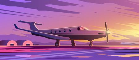 Illustrazione vettoriale perfetta sul tema del viaggio in aereo, compagnie aeree private, trasporti. Un aereo in piedi. Tramonto. 2
