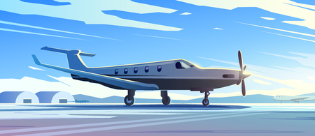 Perfect vector Illustration on the theme of travel by airplane, private airlines, transportation. A standing plane. 1
