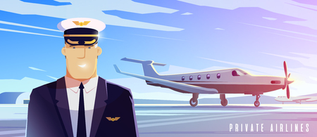 Perfect vector Illustration on the theme of travel by airplane, private airlines, transportation. A pilot.  イラスト・ベクター素材
