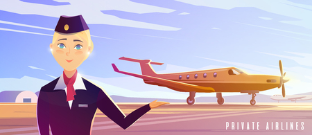 Perfect vector Illustration on the theme of travel by airplane, private airlines, transportation. A stewardess.