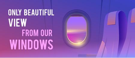 Blick aus dem Flugzeug. Passagier der Fluggesellschaft. Urlaubsziele.