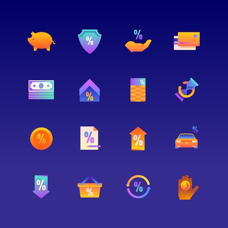 Set of Loan. Vector Gradient Icons. Editable Color. 48x48 Pixel. Include such Themes as Invectment, Financial, Payment and more. 1 Stock Vector - 127461117
