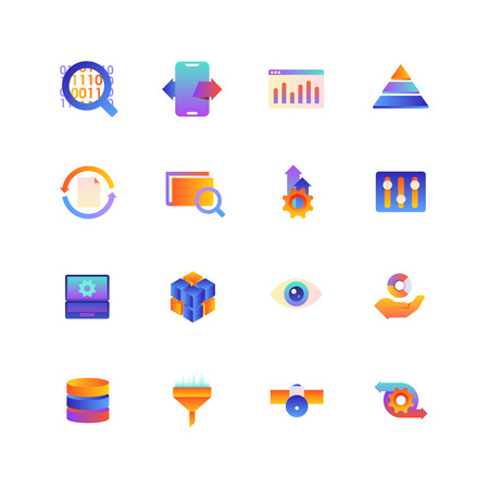 Set of Data. Vector Gradient Icons. Editable Color. 48x48 Pixel. Include such Themes as Analytics, Research, Information and more. 2  イラスト・ベクター素材