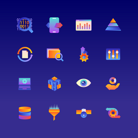 Set of Data. Vector Gradient Icons. Editable Color. 48x48 Pixel. Include such Themes as Analytics, Research, Information and more. 1 向量圖像
