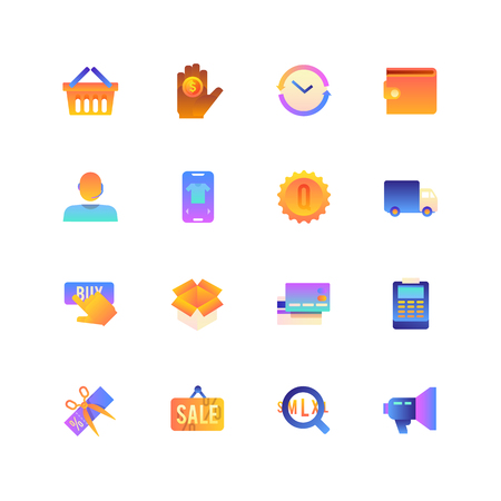 Set of Online Shopping. Vector Gradient Icons. Editable Color. 48x48 Pixel. Include such Themes as Bye online, Sale, E-Commerce and more.