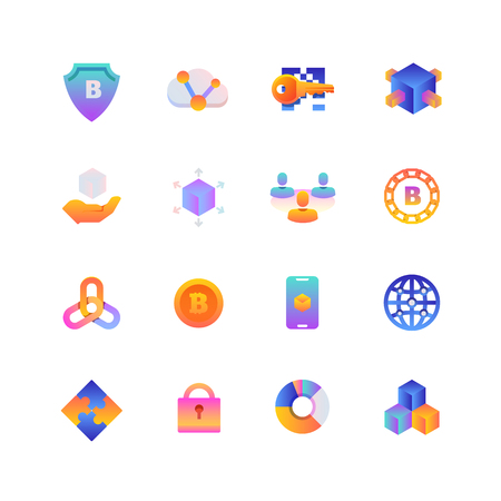 Set of Blockchain. Vector Gradient Icons. Editable Color. 48x48 Pixel.