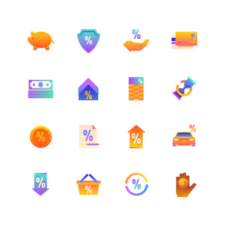 Set of Loan. Vector Gradient Icons. Editable Color. 48x48 Pixel. Include such Themes as Invectment, Financial, Payment and more. 2 矢量图像