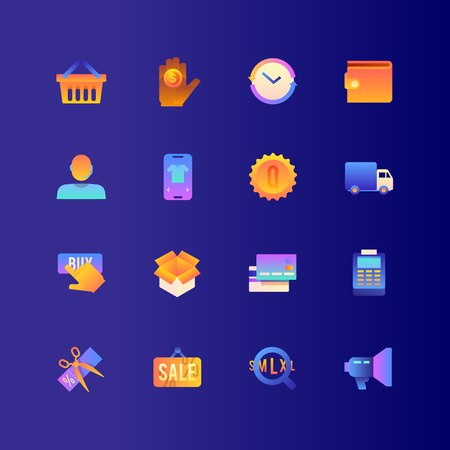 Set of Online Shopping. Vector Gradient Icons. Editable Color. 48x48 Pixel. Include such Themes as Bye online, Sale, E-Commerce and more. Stockfoto - 127461121