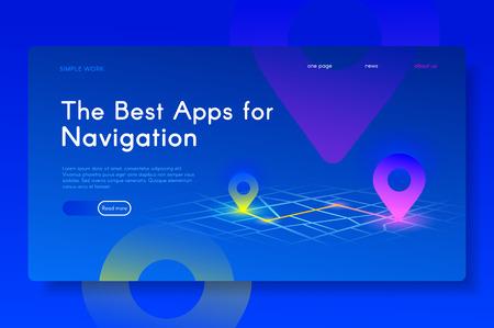 The best Apps for Navigation. Modern isometric web illustration.