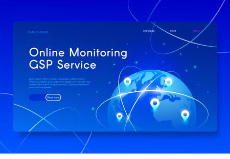 New Mobile GPS Services. Modern isometric web illustration.  イラスト・ベクター素材