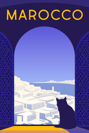 Cartel retro del art déco del vector. Marruecos. Gatos sentados Ilustración de vector