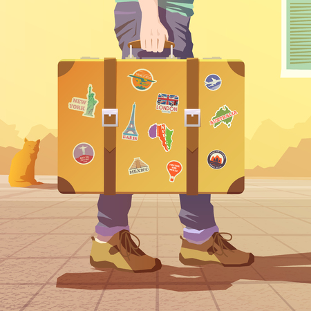 A man holding an old suitcase. Luggage of the traveler. Flat vector illustration. Time for a road trip. 1 Foto de archivo - 127461124