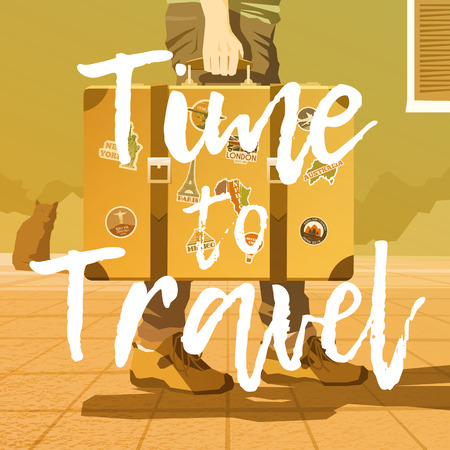 A man holding an old suitcase. Luggage of the traveler. Flat vector illustration. Time for a road trip. 2 Foto de archivo - 127461125