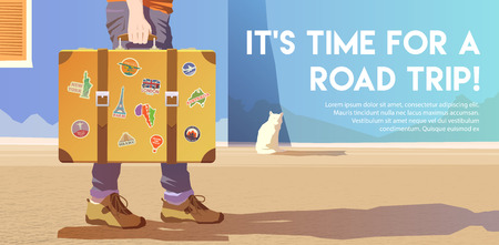A man holding an old suitcase. Luggage of the traveler. Flat vector banner. Time for a road trip. Foto de archivo - 127461126