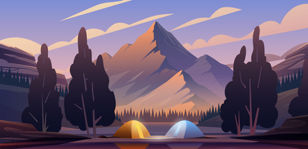 Vector flat web banner on the theme of Climbing, Trekking, Hiking, Walking. Sports, Camping, outdoor recreation, adventures in nature, vacation. Modern flat design. Evening camp