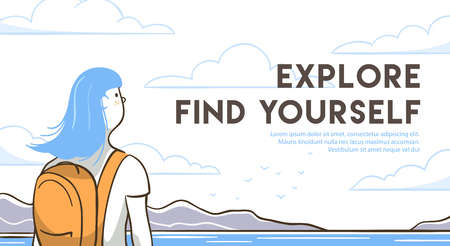 Reisefrau mit Rucksack finden Sie sich. Nahaufnahme von Reisemädchen im Freien. Linie Kunst-Vektor-Illustration. Vektorgrafik