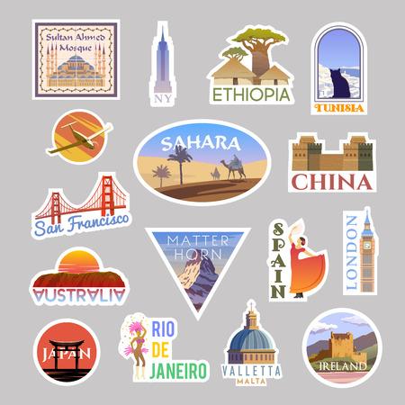 Conjunto de collicción de pegatinas de viaje de vector. Alrededor del mundo
