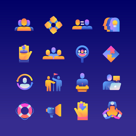 Set of Team Work. Vector Gradient Icons. Editable Color. 48x48 Pixel.