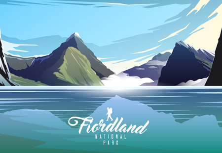Fiordland national park. Nature of New Zeland. Milford sound. Imagens