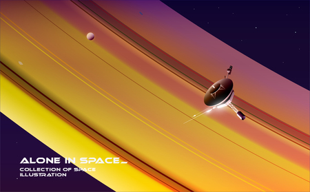 Exploring space. A probe is flying near Saturn. Foto de archivo - 118831262