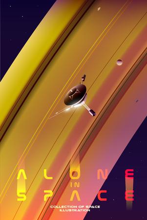 Exploring space. A probe is flying near Saturn. Zdjęcie Seryjne - 118831266