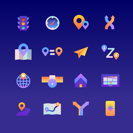 Set of Navigation. Vector Gradient Icons. Editable Color. 48x48 Pixel.