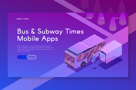 Bus and Subway Times Mobile apps. Isometric modern vector illustration Stok Fotoğraf