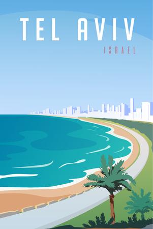 Vector art deco retro poster. Tel Aviv, Israel.
