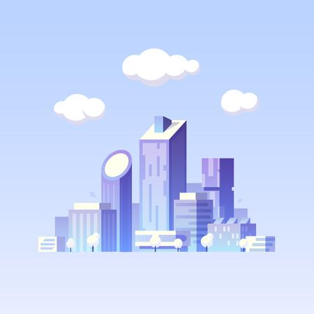 Vector flat illustration. Future city. Modern buildings. Green city 写真素材