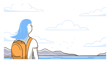 Close up of travel girl outdoors. Line art vector illustration.