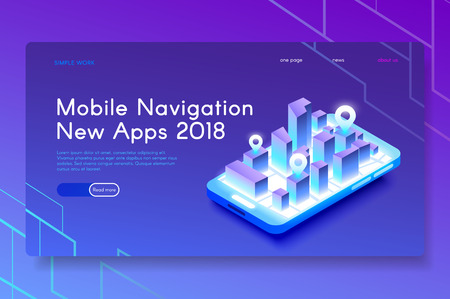 New Mobile Navigation Apps. Modern isometric web illustration