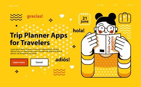 Trip Planner Apps for Trevelers. 向量圖像