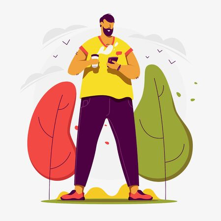 Web vector illustration. I wanna have a good day today. Mans drinking coffee and chatting.
