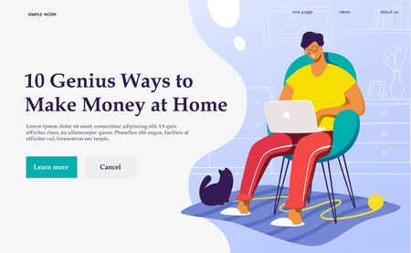 Flat vector concept illustration. A freelancer working at home with cat. Creative landing web page design image.