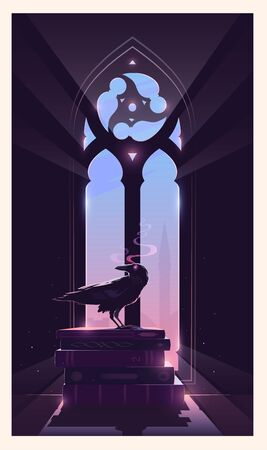 Mystery vector illustration. The raven is sitting on the books. Gothic window. The keeper of secrets.