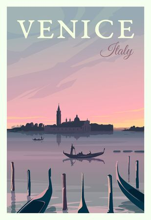 Beautiful cityscape in sunset in Venice with historical buildings, sea, gondolas. Time to travel. Around the world. Quality vector poster. Italy.